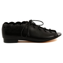 Pria Flat Lace Up in Black Leather