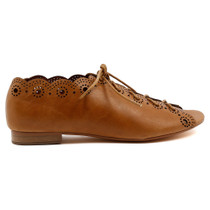 Pria Flat Lace Up in Tan Leather