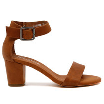 Cassier Heeled Sandal in Tan Leather