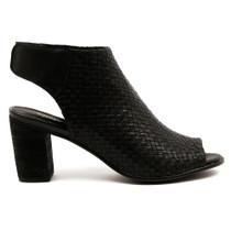 Danesey Peep Toe Heel  in Black Leather