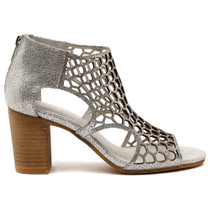 Viables Peep Toe Heel  in Silver Leather