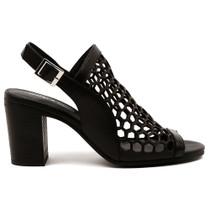 Vikki Peep Toe Heel  in Black Leather
