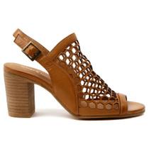 Vikki Peep Toe Heel  in Tan Leather
