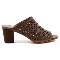 Calmer Heeled Sandal in Taupe Leather