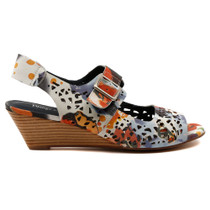 Marney Wedge Heel Sandal in Beige Multi