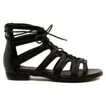 Odessa Lace Up Flat Sandal in Black