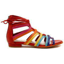 Odessa Lace Up Flat Sandal in Multi