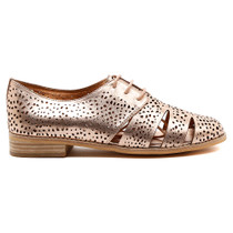 Abras Lace Up Flat in Rose Gold Leather