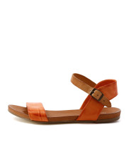 JINNIT Flat Sandals in Orange/ Tan Leather