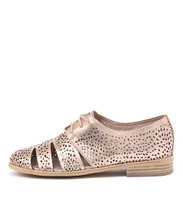 ABRA Lace-up Flat in Rose Gold Leather