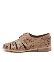 ABRA Lace-up Flat in Latte Leather