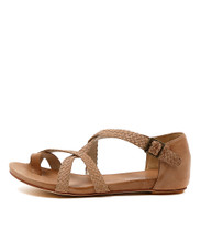 GAMASI Flat Sandals in Dark Beige Leather