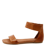 JUZZ Flat Sandals in Tan Leather