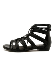 ODESSA Flat Lace-up Sandals in Black Leather