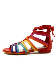 ODESSA Flat Lace-up Sandals in Bright Multi Leather