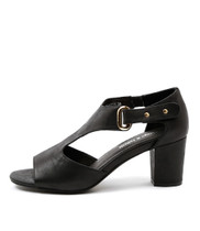 CECILY Heeled Sandals in Black Leather