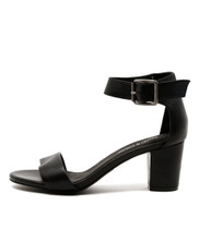 CASSIER Heeled Sandals in Black Leather