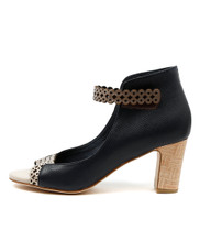 DARIA Heeled Sandals in Latte/ Navy/ Taupe Leather