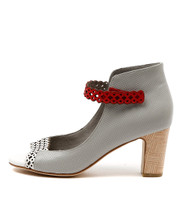DARIA Heeled Sandals in White/ Misty/ Red Leather