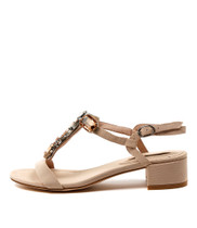 BLOT Mid-Heeled Sandals in Nude Leather