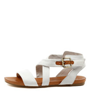JOBBY Flat Sandals in White Leather