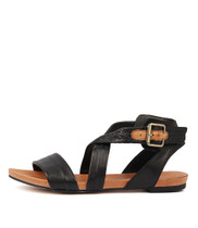 JOBBY Flat Sandals in Black Leather