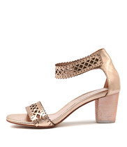 CAJUN Heeled Sandals in Rose Gold Leather
