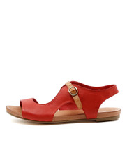 JACOBI Flat Sandals in Red Leather