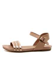 JANSZ Flat Sandals in Rose Gold/ Dark Nude Leather