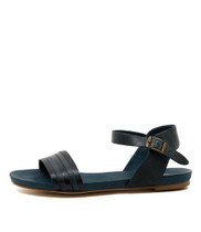 JANSZ Flat Sandals in Navy Metallic Leather