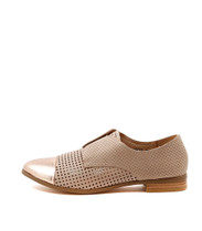 JACCA Flat Brogues in Rose Gold/ Nude Leather