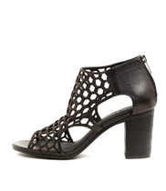 VIABLE Heeled Sandals in Black Leather