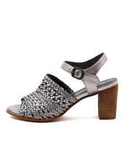 DECIDE Heeled Sandals in Pewter Leather