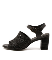 DECIDE Heeled Sandals in Black Leather