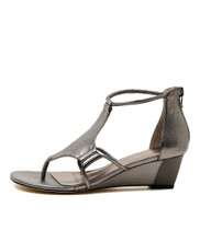RADO Wedge Sandals in Pewter Leather