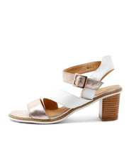 QUALITY Heeled Sandals in Rose Gold/ White Leather