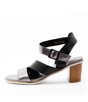 QUALITY Heeled Sandals in Pewter/ Black Leather