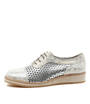 CEDRIC Lace-up Flatforms in Silver/ White Leather