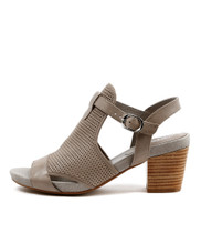 ZUNTON Heeled Sandals in Grey Leather
