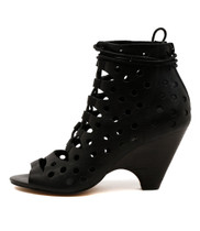BEKKY Heeled Booties in Black Leather