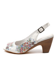 KLOE Heeled Sandals in Off White/ Floral Leather