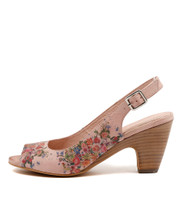KLOE Heeled Sandals in Pale Pink/ Floral Leather