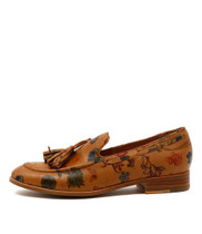 CESARE Loafers in Tan Printed Leather