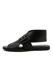NALITA Flat Sandals in Black Shine Leather