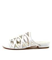 OMARI Flat Sandals in White Leather