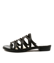 OMARI Flat Sandals in Black Leather