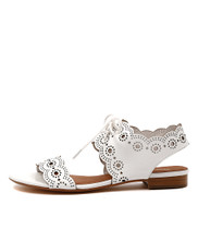 PRINCI Lace-up Sandals in White Leather