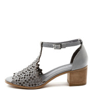DRESSIE Heeled Sandals in Blue Grey Leather