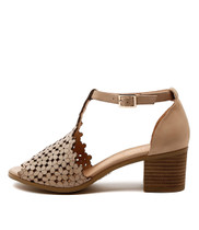 DRESSIE Heeled Sandals in Nude Leather