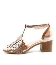 DRESSIE Heeled Sandals in Rose Gold Leather